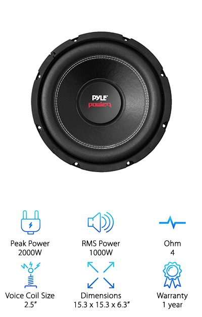 "The Pyle PLPW15D is an unenclosed subwoofer with a black steel frame, non-press paper cone, and foam surround. Dual 4 ohm impedance with the 2.5-inch four-layer dual voice coil means intense and accurate sound. The sensitivity is 92dB, and a 95-ounce magnet adds ""weight"" to your bass! This is a great low-price subwoofer for entry-level car audio and has a good SPL. From hard rock to rap, you'll feel and hear the bass! The only issue: we wish the warranty was longer, but that's a common tradeoff of a low price."