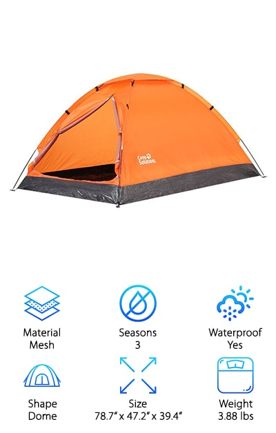 A lightweight, waterproof tent perfect for a camping or hiking excursion, the Camp Solutions Folding Tent is easy to assemble and even works as a freestanding model! Supported by two lightweight aluminum poles, mesh walls with a door and vestibule complete the simple design and provide great ventilation. A factory-sealed rain fly and floor seam keep you dry, even during a rainstorm, making this tent a valuable option during warm or chilly, wet weather. When your trip is over, simply fold this easy-to-assemble design up and put it in its convenient carrying case for portability. Complete with fiberglass rods, guy ropes, a mesh storage pocket, and a gear loft, we think this deluxe model rounds out our list as a top contender for the best one man tent. And here's the kicker: you can have it all at an extremely affordable price that won't break the bank. Don't waste time and start your next adventure now with the Camp Solutions!