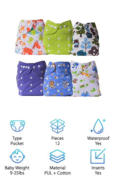 This set of six cloth diapers with six inserts uses the pocket cloth diaper design. Hip and waist tabs provide a good fit while leg gussets help prevent leaks. The PUL covers are waterproof, while the inner fabric has a soft suede feel. The inserts are 100% organic cotton, which is soft and absorbent. You can adjust the sizing with snaps to keep baby covered from birth to potty training! Pocket diapers are a great choice for combining a waterproof cover design with the convenience of inserts. Since you can wash and dry the inserts separately from the diaper itself, you can have dry, clean padding ready to go in less time! The cute, unisex animal prints are great patterns, too! Some consider them a dupe for Alva cloth diapers available at a lower price.