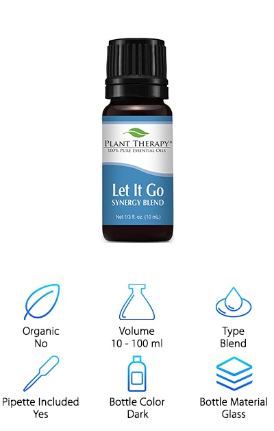 This is a revitalizing essential oils blend with Tangerine, Orange, Ylang Ylang, Patchouli and Blue Tansy oils. This mix is undiluted, giving you a pure product that packs a punch. It helps you calm down and can be mixed with milk and Epsom salts (check the instructions first). In today's fast-paced world, this Let It Go blend is the perfect answer to helping with stress and emotions. You owe it to yourself to enjoy peace of mind, so try this Plant Therapy blend.