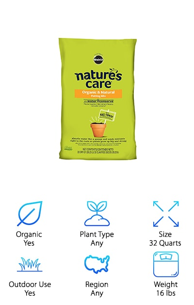 Searching through the best potting soil reviews for something organic and water conserving? Nature's Care Organic Potting Mix is the soil for you. This soil absorbs water like a sponge and sends nutrients straight to the roots of the plant. This helps plants to grow bigger and stronger than they would without help from potting soil. This soil gets its moisture-holding power from nature. It does this with ingredients like yucca and coir included helping your plants be the best they can be. This soil also contains Alfalfa meal, kelp meal, earthworm castings and bone meal. These ingredients help your plants build stronger roots and grow bigger and stronger than others. This soil is even OMRI listed for organic use, making it the perfect soil for anyone serious about organics. This soil uses nature to nurture your nature. And the water conserves feature ensures that you're never over or under watering your plants.