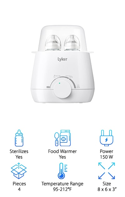 Our next pick is so much more than a bottle warmer. With one machine, called the Lyker Baby Bottle Warmer, you obtain three different processes. The first is bottle warming, and it is important to note that bottles can be warmed from the fridge or from the freezer. This bottle warmer is designed so that bottles are warmed evenly, without hot spots. Bottles can also be warmed from room temperature, they will just be ready faster. Then it can also sterilize small bottles. Moms and Dads know what a pain it is to get all of those little things clean, day in and day out. This is such a timesaver! Finally, it warms food too. Oatmeal, fruit and vegetable purees, whatever your child is enjoying that week can be heated without destroying nutrients. The Lyker Beleef Warmer is really three devices in one. There are accessories, too: A bottle brush and tongs. The tongs are very helpful with warm milk!