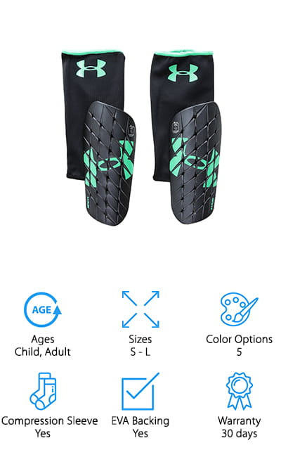 Under Armour is another good-quality name brand for sports equipment and accessories. These shin guards are both affordable and high quality. They are made of polyester, but that makes them lightweight as well. The tough outer shell is backed by crosshatched, breathable foam that won't stick to your skin or attract moisture. You'll want to be as dry as possible when you're playing! As a bonus, you don't have to apply these shin guards with the straps, you can also just slide them down into high soccer socks and they will fit and work just as well. We loved that versatility. Along with the high quality of the foam, these are probably the best cheap shin guards we looked at. They will last you a long time and they are so affordable that you can buy the next size up for a good price. Under Armour has always delivered a quality product – including these amazing shin guards!