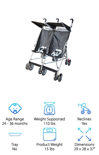 If you're looking for a basic stroller for your toddlers, Amoroso has a great option for you. For starters, it only weighs 15 lbs and is the lightest one in our reviews. Despite being so lightweight, it's also durable and flexible. You'll have no issue getting it into the trunk of your car or carrying it wherever you need to go because it folds compactly. That's not all. Each seat has a 3-point harness to keep your kids safe and a canopy to protect them from the bright light of the sun. There's storage for diapers, wipes, snacks, and any of the little things you'll need when you're out for a walk with your kids. One more thing: the 360-degree swivel wheels make it easy to maneuver.