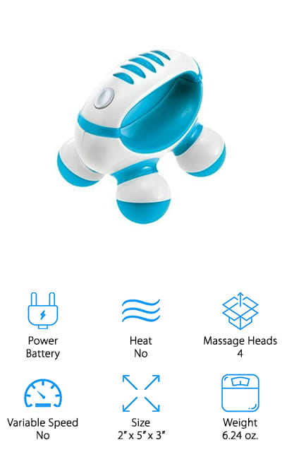 Finally, this little handheld massager is going to be one of your favorites to throw in your bag for any time you may need it. It's small and lightweight but also effective and easy to use. The open handle makes it easy to hold and the 4 massage heads make it comfortable for most users. It has fun color options so you can choose your own and offers a single setting that gets you relief and comfort quickly and easily. This massager is battery operated and can be used on any muscles and however you want because it's designed for you to apply the pressure yourself. It's also the lightest of all of these options and uses standard batteries so they're easy for you to replace as needed.