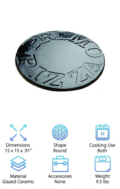 This glossy black ceramic baking stone is coated with a nonstick porcelain glaze finish for fast and easy cleanup. A glazed pizza stone is a great choice for people who like a professional look that won't stain and is easy to clean. You can use this pizza stone on the grill or in the oven for amazing authentic pizza texture every time! The thickness of this ceramic pizza stone helps it stand up to high heat and consistent use over time, giving it added durability and strength compared to thinner pizza stones. You can also use it with a Primo or Green Egg-style smoker and to make crispy open-face sandwiches and more! This is a premium pizza stone that grill masters and lovers of Italian food will love. This is definitely one of the best pizza stone options for people who love a professional, clean look to their cookware!