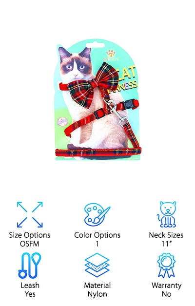 The Mihachi Cat Harness definitely looks cute with a big bow right on the back. It comes with a leash as well as the harness and is actually thinner than most other designs. It has a clasp to attach right around the neck and the waist to provide a little more balance to the pressure and the tension and the leash clips on through a D ring. It comes in only one color, but the plaid style is definitely fun and even more importantly the nylon harness is strong and secure, even for your little larger animals. The harness itself is easy to put on and take off, plus it has a quick release feature to the clasps to make them even easier to get off when you're done with the walk. Your cat will have a little harder time trying to wiggle their way out of this best cat harness no escape while they're walking.