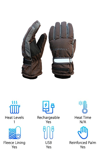 The Global Vasion Heating Gloves use 3.7V batteries to provide heat to the backs of your hands that spreads to your fingers and thumbs. These waterproof gloves are made with a breathable lining, reinforced leather palm, and tricot fleece lining. An adjustable wrist strap and cinching elastic cuff provide a good fit and keep out moisture. These gloves start heating as soon as you plug in the batteries, and will keep going until the batteries run out or are removed. If you're looking for a simple pair of heated gloves to give you an extra boost while you're outdoors in cold weather, these inexpensive gloves might be your new best friend! They aren't as fancy as some options out there, but they do the job. Most people find that the gloves are comfortably warm even without the heat on! They should work well for skiing and snowboarding as well as basic outdoor activities.