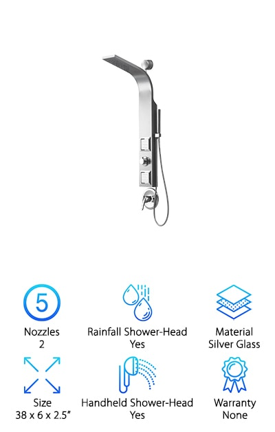 When it comes to shower panels, sometimes less is more, like with the Valore VS-1205 Shower Spa. Hear us out. It's not that this isn't an awesome shower panel because it is. It just has a more streamlined look to it that will match any decor. It's made of stainless steel which means that, in addition to looking sleek, it's also tough and corrosion resistant. There are 2 large massage jets as well as a hand shower want that looks extra cool because of its shiny chrome finish. The panel has been ergonomically designed so that the overhead shower is angled just perfectly to give you the best coverage. Plus, installation is really easy. It uses a positioning template and hanging wall brackets as well as your existing shower outlet.