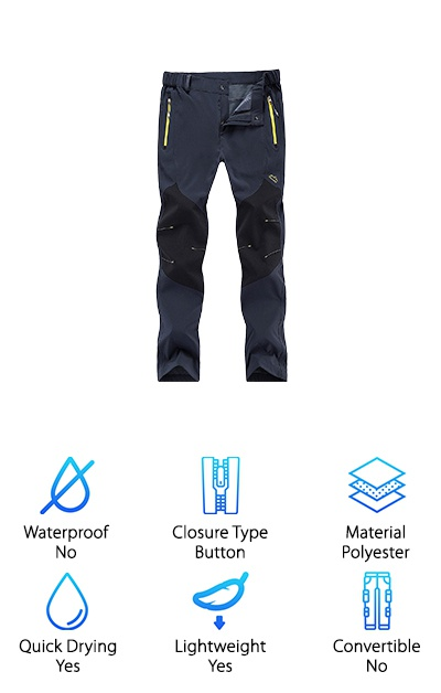 Huntvp has made a pair of hiking pants that are packed full of great features that make them super practical and comfortable at the same time. The waist has a button closure with elastic sides, but it also has an adjustable band so you're sure to get a great fit. They're designed to resemble military or law enforcement pants and have the same high-quality construction. There are side pockets that secure with a zipper closure and the fabric is water resistant and quick drying. That's not all. These pants have reinforced knees that extend up the lower thigh. This really helps with their durability. Think about it. Your knees are the spot that's most likely to tear or wear through. With the thick fabric reinforcement, they'll get a little extra coverage and remain intact a little longer.
