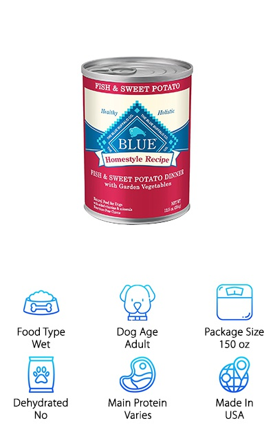 "The Blue Homestyle wet food is a great option for natural canned dog food for bulldogs. If your bulldog is allergic or sensitive to common dog food ingredients like chicken, corn, wheat, or soy, Blue Homestyle wet food has some delicious solutions. The Fish & Sweet Potato recipe contains fish meal, whole grains from brown rice and barley, plus whole fruits and vegetables. The Lamb Dinner recipe is another great choice for dogs with sensitive stomachs, since lamb is easy to digest. Other flavors include Beef and Chicken. Wet food can be used to ""spice up"" regular dry kibble to encourage a healthy appetite, or be substituted in entirely as full meals. Give your English bulldog a delicious treat with Blue Homestyle wet food! Incorporating wet food can also help with doggy weight loss and help your dog stay hydrated. This dog food comes in 12-packs of 12.5-ounce cans for 150 ounces total."