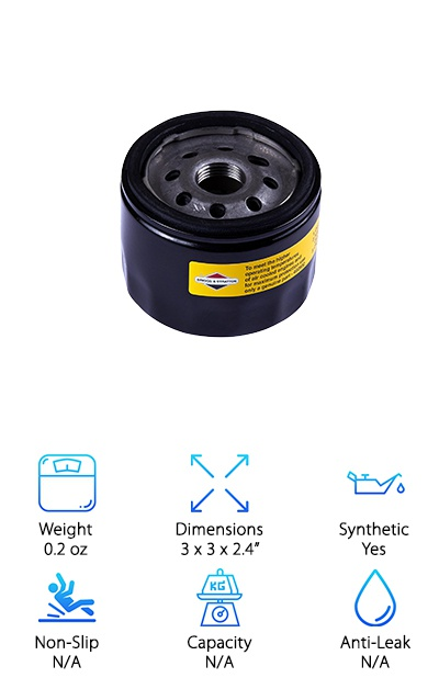 This is one of the best oil filter for synthetic, especially for those looking for a filter for their lawn mower. This is a good filter to buy more than one of, as you can buy it in any quantity up to five. This is a great filter for lawn mowers or other equipment that came with any brand of oil filter, not just Briggs and Stratton. This is, however, a genuine Briggs and Stratton OEM part, if you are specifically on the hunt for an original and genuine part. It can replace 7045184, 492056 and 492932. It is a great replacement part for any of those oil filter numbers. It is a great deal for anyone looking for an original part. Replacing your filter with the one it originally came with is typically easier and less stressful because you always know that the filter will fit your engine and function properly with it.