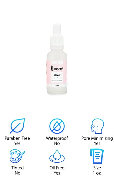 The Lunar Glow Makeup Primer here is great for reducing the appearance of lines, pores, and other blemishes by giving you a super hydrated and soft look. It's free of any parabens, mineral oils, fragrances and alcohols and is also cruelty free, which means it's not tested on animals. Designed to even out your skin tone and get rid of any kind of imperfections so your makeup looks its absolute best, this primer absorbs quickly and is entirely water based. You'll get a high-quality serum that is easy to use because it actually has an eye dropper to make sure you get just the small amount that you need for your skin. Use it with oily or even dry skin with no problems and you'll be able to see the difference before and after. All you need is the rest of your makeup and you're going to look better than ever.