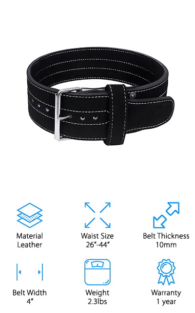 The Hawk Powerlifting Belt is the perfect belt to purchase if you are just starting out with powerlifting, weight training, or any other heavy lifting exercises. This provides excellent support and legal competition standards, so you know it will give you everything you need! The single-prong closure makes it simple to take off and put on so you won't ever have to waste time fiddling with it. Make sure when you are measuring for size, you measure around your navel for your waist dimension. Using your pant size will not work for these types of belts. The edges of this belt are rounded to make it more comfortable. The belt doesn't have any chance of digging into your skin when you're doing your lifting. What makes this product stellar is the 1-year warranty. Hawk stands behind their product so firmly that they will replace or refund the belt if it breaks or bends. That's definitely a bonus!