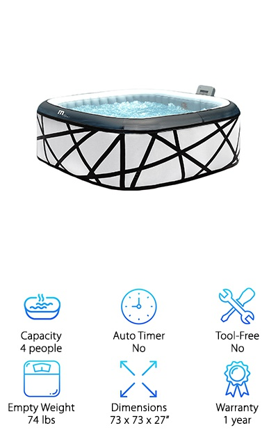 To wrap up our reviews, we wanted to share the MSPA M-029S Premium hot tub with you. If you love to own products that are unique and stand out, then you will love this option. Unlike other options you can find on the market, this features a fun and modern design. In fact, the while walls are covered in black leather decorative trim. More important than fashionability is functionality, so we were happy to learn that this product features over 130 air jets that can be adjusted through the control panel. In fact, you can easily change the intensity of your bubble massage to fit your needs thanks to the variable speed pump. Our favorite part of this hot tub is that it is still very quiet despite all of the technology and pumps, so you will be able to sit back and relax in near silence. All in all, we think that this would be a great product for anyone shopping around for a quality hot tub.