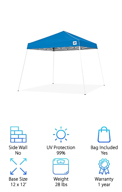 The E-Z UP Swift Instant Shelter is available in 10x10' and 12x12' base sizes, but we'll focus on the 12x12' option for our review. This gazebo tent features angled legs for extra stability and multiple height adjustments up to 8'9''! A cathedral-style ceiling provides plenty of headroom for tall people, and the canopy provides UV protection ideal for days at the beach. The canopy is water-resistant as well for rainy days! The powder-coated steel frame folds up to a length of 49'' to fit into an included bag with a shoulder strap. It's also a lightweight gazebo tent option, weighing just 28 pounds! Set it up easily and enjoy the 64 square feet of shade! It comes with stakes to secure the gazebo tent against wind as well. The lightweight design makes it a good option for taking along on a camping trip or to a sporting event.