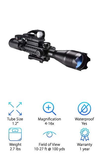 Looking for the perfect long range ar scope? We found it! The XOPin features a high-grade, fully-coated optical lens. Magnify your target up to sixteen times and take advantage of the 1/4 -inch fingertip resettable windage and elevation adjustment function.A red dot laser and light and a detachable green laser help you hone in on fast-moving targets at up to 500 meters. Both colors can be used with five different brightness settings for optimal viewing at night. Shockproof, waterproof, and fogproof, you're sure to be pleased with your purchase when you take this tactical rifle scope home. When you're looking for professional-quality products, but you love a deal, you'll want the best long range scope for the money and that is exactly with the XOPin is. Rounding out our list, we finish strong with this powerhouse product for a reasonable price.