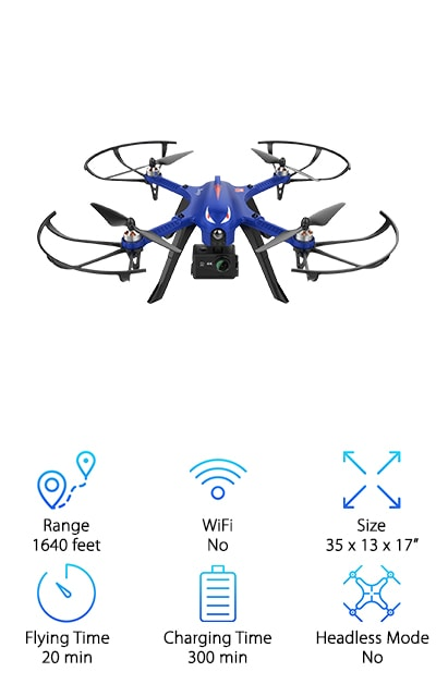 The DROCON Blue Bugs Brushless Drone is our top pick of the best large drones for sale. Thanks to the brushless motor, you can get flights of up to 20 minutes with this one. Why? They don't overheat and risk damaging the plastic. Longer flying times also mean farther distances. In fact, this one can go as far as 1640 feet away. This drone is a great choice for anyone, even beginners because it delivers a stable flight that lets the user have a lot of control. Get this: the drone and the remote have 2-way communication. The remote talks to the drone and the drone talks back! That means less lag time and increased responsiveness. Oh, and one more thing.  It includes a GoPro mount.