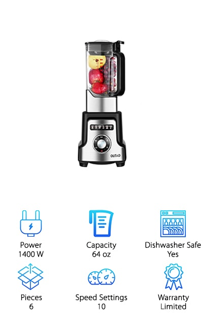Featuring preset processing modes for all of your favorite recipes and ten different settings, Elepawl Professional Power Blender makes our list as a premium choice for the best blender for smoothies and ice-- and anything else you'd care to throw in! Backed by 1,400 watts of power and equipped with six stainless, thicked oblique blades, this blender can slice through nearly anything and do it with ease. And it looks great on your countertop! The 2-liter pitcher comes with a plunger to push ingredients down toward the blade and ensures even smooth blending. A safety-lock top keeps ingredients inside and a rubber handle makes lifting the lightweight pitcher comfortable. Rubber feet keep the machine in place, so you don't have to worry about spills or sliding, while in use. The cooling design of the motor keeps this model from overheating, too, as an added safety feature. If you're in the market for the best, and you aren't willing to compromise, then you'll want to look into the Elepawl, so you can start whipping up delicious meals in style as soon as possible.
