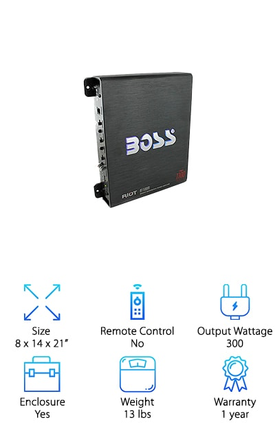 "When looking for the best subwoofer amp brands or really the best all-around stereo equipment brand, Rockford Fosgate is a name that will keep coming up. That's why it's no wonder that they make their appearance on our list with this collaboration with BOSS. This subwoofer/amp kit comes with everything you need to install and begin rocking the bass. The included subwoofer box is made of ?"" MDF with a charcoal carpet covering. Believe it or not, it only has a mounting depth of 4 ¾"" so it can fit into some narrower spaces. The BOSS amp has low pass crossover, a line output, and an eye-catching illuminated Boss logo. This kit is a great setup plus it's affordable, making it a great option if you're looking for the best sub amp for the money."