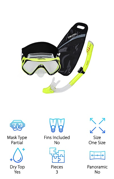 There's lots to love about this Coastal Aquatics set. Let's start with the mask. They use high grade silicone so the face skirt is really soft and comfortable but is still able to create a good seal. The tempered glass lens is really durable. In fact, it's shatter resistant and will last a long time. One thing this set has that we haven't seen before is a black, neoprene mask strap cover. That's not all. The snorkel has both a splash guard to keep water out and a seal. How's it work? A floating ball seals off the snorkel when it gets below the surface of the water. This set also includes a gear bag that not only has room for your gear but for your small stuff, like your keys or your smartphone.