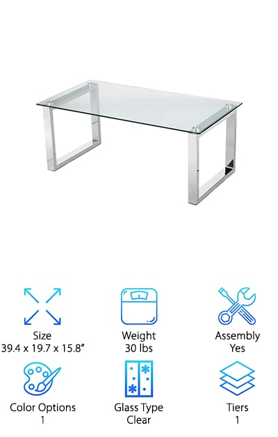 Topeakmart Glass Top Table