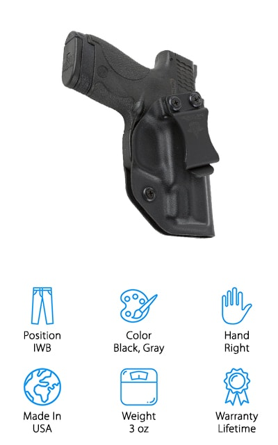 Each one of these Stealth Mode S&W is made right here in America and are only crafted from durable and high-quality materials. The other fantastic thing about this product is that it is backed by a lifetime warranty. You can carry this holster inside of your waistband for the rest of your life in confidence. Each one of these is custom made perfectly to fit your Smith & Wesson M&P Shield. So you need to ensure that you select the proper caliber when you order. This IWB holster is completely adjustable so you can carry it all day long without becoming uncomfortable. It has an adjustable cant and retention for your convenience. It has been designed for maximum comfort and performance. It's sturdy, durable, and form-fitting for easy concealment and quick access.