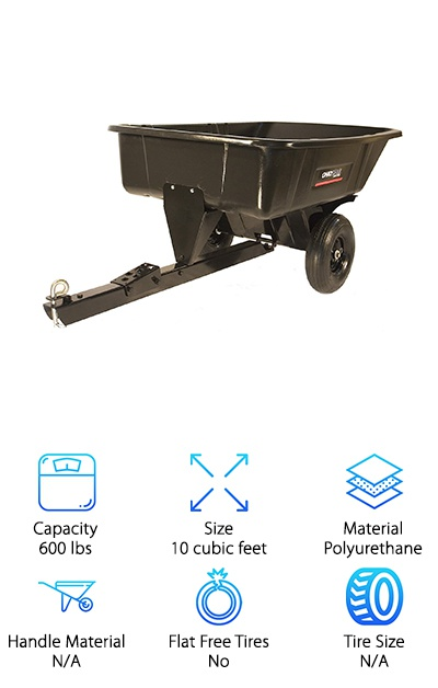 If you're looking for a heavy duty yard dump cart, this may be the one for you. This cart is built specifically for hauling and dumping. It can be attached to a trailer so you can take your unused material to dispose of it. This also allows you to pick up new material and dump it at your work site. This cart includes a swivel dump feature with a foot pedal dump release mechanism. This allows you to easily dump the contents of the cart anywhere you like, with no hassle about moving the cart of throwing out your back. This cart is not made to exceed six miles per hour while towing. It can hold up to 600 lbs in its polyurethane cart. This cart can hold up to 10 cubic feet. This cart is a great choice for anyone who needs to tow large amounts over a large property or worksite. This cart makes that easy as long as you have a car or other motorized vehicle to help you out.