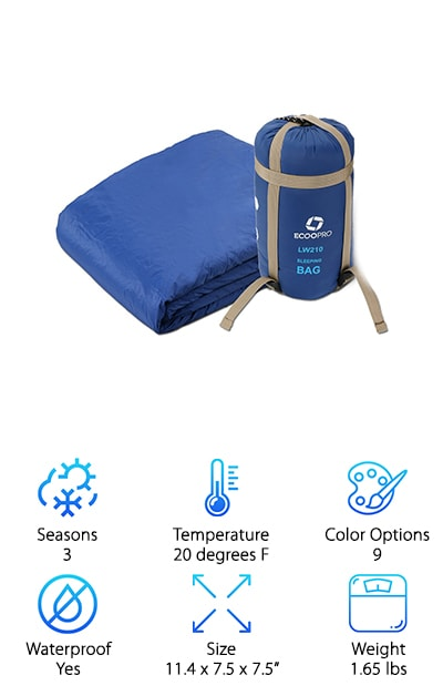 This lightweight 3 season sleeping bag from ECOOPRO is up next as our budget pick. It's rated for spring, summer, and fall and is a great pick for kids as well as adults. One of the things we like about it is the TC cotton filling. Not only does it make for a comfortable place to sleep at the end of the day, it insulates the sleeping bag and keeps you nice and cozy. This sleeping bag is super lightweight at only 1.65 pounds. It also rolls up and fits into a carrying bag with straps to make it easier to take with you on your adventures. That's not all, it's also waterproof and weather resistant. This best budget lightweight sleeping bag comes with a 1-year warranty.