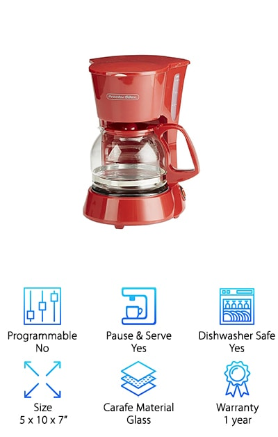The Proctor Silex Coffee Maker is red in color, which definitely makes it unique, and it makes four cups of coffee quick and easy. The on/off switch is a simple slide and the clear panel on the side lets you know how much water you're going to need. When your coffee is done it has a keep warm feature that will make sure the coffee stays just the right temperature. You can get plenty of coffee in one batch and you'll be able to put this coffee maker right on the counter without taking up too much space. The pot has a lid and easy pour spout as well as letting you make fewer cups if you only need one or two (or three). Flip open the lid and pour in your favorite coffee grounds and you'll be ready to go just like that. You can also clean the pieces easily in the dishwasher.