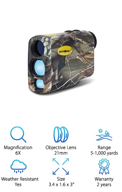 The LaserWorks LW1000SPI can be used for golf as well as hunting and comes in camo or black. It has Fog Mode for poor visibility conditions and scanning measure to note distances of multiple landmarks. It measures 5-1,000 yards out, and can even target highly reflective objects at 1,600 yards. It's water and dust-resistant, so no need to worry about rain and bad weather. The controls are simple, and the rangefinder powers off after 15 seconds of inactivity. It runs on a 3V CR2 battery, which is included to get you started. You also get a lanyard, cleaning cloth, and carrying bag. Besides the 6X magnification, you can even measure the speeds of different targets! The long range and tough weatherproof design make it a great tool to take with you hunting. Plus it fits in the palm of your hand and weighs just over five ounces, so it's easy to take with you.