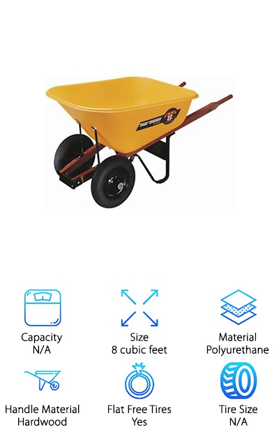The Ames True Temper 8 Contractor Wheelbarrow is ready for heavy-duty use, even by contractors. This wheelbarrow features heavy duty construction and hardwood handles to help you get the job done. It is constructed out of heavy-duty polyurethane, which allows it to be lightweight without sacrificing on its ability to carry large loads. This wheelbarrow is easy to clean as well, due to its polyurethane construction. The Poly tray is also rustproof, meaning you don't have to worry about exposing it to the elements or wet loads. IT comes with steel front tray braces, cross braces, and shoes, which add to its ability to be a great heavy duty cart. The tires are pneumatic, which means they can stand up to lots of wear and tear without becoming flat. The 2-ply tires also come with ball bearing, which allows you to easily maneuver them. This wheelbarrow is easy to assemble and will have you hauling loads in no time.