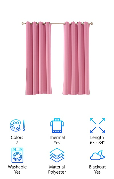 These curtains provide a great solution for anyone looking for a soundproof curtains review of something that comes in lots of bright colors. These curtains come in seven colors. They are- Barbie Pink, Beige, Black, Charcoal Grey, Grey, Light Teal, and Navy Blue. These curtains block out up to 98% of light when choosing a darker color, according to AMAZLINEN. The thermal element of the curtains allows you to save a little money on your energy bill as well. They can even be returned for a refund within 30 days if you don't like them or if they don't quite fit your room as you imagined. But these curtains are really a great choice for most people as they are great for kids rooms or for any other room of the house. They are made of 100% polyester so you can easily throw them in the wash if your child spills something on them.