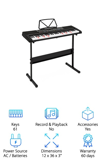 This Best Choice Electronic Keyboard helps beginners learn about finger placement and notes by using a special light up system in the keys. That's not all the keys can do. There is a split key feature with light up one key, follow, and ensemble modes so you can play with different timbres on each side of the keyboard and make some pretty cool music, all by yourself. Even if you're a beginner! In all, you get a wide range of different sound effects, like 255 timbres, 50 demo songs, and 8 percussion effects. This one includes an H-stand with non-skid feet and 3 different height adjustments. If you want to use your own educational material, the USB and AUX ports make it easy to hook this keyboard up to any device.
