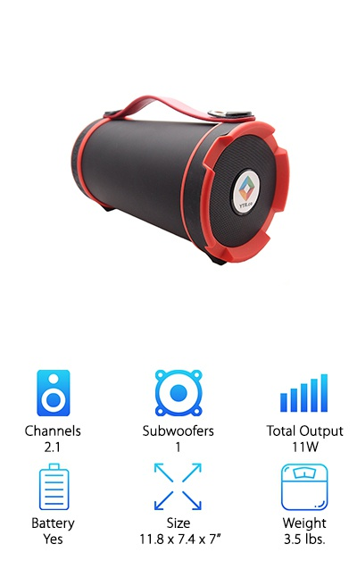 The YTR Boombox is a cylinder-style speaker system, which is one of the most popular portable designs. However, don't even think about categorizing this one with all the others. This is the grab-and-go speaker you buy when you are fed up with the mediocrity of all the others. The lightweight, stylish system features two speakers and a subwoofer and leaves behind the competition regarding sound quality and bass power. It is definitely one of the loudest portable speakers you can buy, and the cylindrical speaker design works great. The YTR Boombox is also highly durable and waterproof, making it perfect for hiking, travel, and long days at the beach.