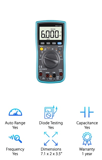 The DKMHA Digital Multimeter can be set to auto or manual ranging to make taking measurements faster. It can be used to test resistance up to 60 megaohm, DC voltage to 600V and AC to 700V, AC/DC current to 20A, diode testing, and continuity testing with an alert buzzer. You can also use it to take temperatures, like if you're worried your new sound system is getting too hot! The LCD display has a backlight you can toggle for low-light conditions in your dim garage, and it has a reinforced plastic shell for protection against accidental drops and grease. The multimeter comes with test leads and a thermocouple that will come in handy if you ever need to test your car's heating and cooling systems. You can store readings to look back on them and easily compare, and a low battery indicator lets you know the status of the two AA batteries. This multimeter is a great option for helping you troubleshoot and maintain your vehicle.