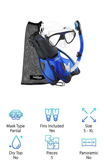 We love the fact that this snorkel set from Phantom Aquatics comes in so many bright colors. Not only does this let you express your personality a little, it also has a practical purpose. Your snorkeling buddies can easily identify you underwater by the color of your gear! So, what gear do you get? The 2-window mask has a really soft and flexible silicone skirt that is easy to adjust for the right fit. The snorkel itself is a semi-dry top and the mouthpiece has tabs to bite on to keep everything in place. As for the fins, they're open heel so they can be adjusted to fit just about anyone. The fins are designed to be short, which gives you a really powerful kick that makes these a great choice for a range of water activities.