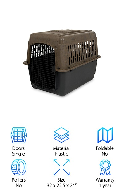 If you need a crate for airplane travel, this Ruff Maxx Portable Dog Kennel is a great choice. It has a durable plastic shell and comes with everything you need to assemble it. You don't need to worry about whether or not your pup is getting enough air. There is plenty of ventilation around the top section of the crate. Plus, the door is made of steel wire that also lets in plenty of air. The door also has a squeeze latch and barriers to add some strength so your dog will stay safe and secure, even if he's an escape artist. Although this crate meets most airline requirements and even those of the IATA, it's always important to check before you travel, just in case. One more thing: it's made in the USA.