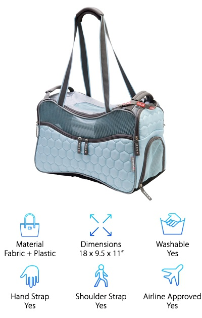 The Argo carrier, available in pastel blue or pink, is a preppy and shapely duffle bag for pets. Its roomy size makes it ideal for taking your pet traveling in style and comfort, as well as being a good option for larger dogs, cats, and other animals. Mesh panels on the top and sides provide plenty of ventilation, and you can access the inside of the carrier with the double-zippered top or from the side. The carrier also has five roomy zipping pockets and a rear pocket for storing your wallet, treats, and more. The bag has hand straps as well as longer shoulder straps that make it easy to carry your companion around. It also has another strap on one side for buckling the carrier to a car seat with a car seat belt. The removable pad stays cool and is water-resistant. This airline approved pet carrier meets the International Air Travel Association's requirements for traveling with pets. Similar to the Sherpa Element Duffle, this bag is designed for taking your pet on the road or in the air while keeping them safe and comfortable. It looks stylish enough for everyday use as well, but may not be as subtle as a purse carrier.