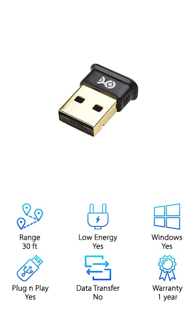 Last up in our best Bluetooth USB dongle for PC top ten list is this one from Cable Matters. If you have an older computer or a newer computer that's Bluetooth doesn't work anymore, this is a great choice. One of the things that we really liked about this one is that you can pair up to 7 devices at the same time. Installation is simple, they include a CD that contains all the drivers you need. Or, if you'd rather, they're also available for download. It's plug and play with certain programs, too, like Raspberry Pi Zero and 2 with Raspbian if you're into Linux systems. One more thing, the Cable Matters USB Adapter is equipped with Bluetooth 4.0. It uses a low amount of energy and helps batteries last.
