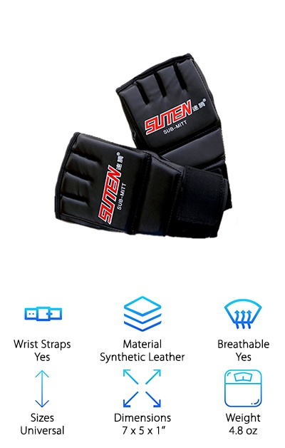 Available in black with a red or gold label, the SUTEN MMA Muay Thai gloves use a half-glove design for awesome breathability. Under the shiny faux leather outer, closed-cell Durafoam padding protects the backs of your hands, your thumbs, and your knuckles. The thick wrist straps and tri-sect closure provide support for your wrists while you train. Padding on the thumb protects it during closed-fist moves, and the contoured fit is designed to make forming a fist easy and natural. These gloves are one-size, so they may not fit children or women with small hands well, and may be too small for men with super-big hands! However, you can wrap your hands to tighten the fit. These gloves can be used for training, refining your punching technique, and they can also be worn inside of boxing gloves. For intense sparring sessions, you may prefer gloves with more padding and structure.