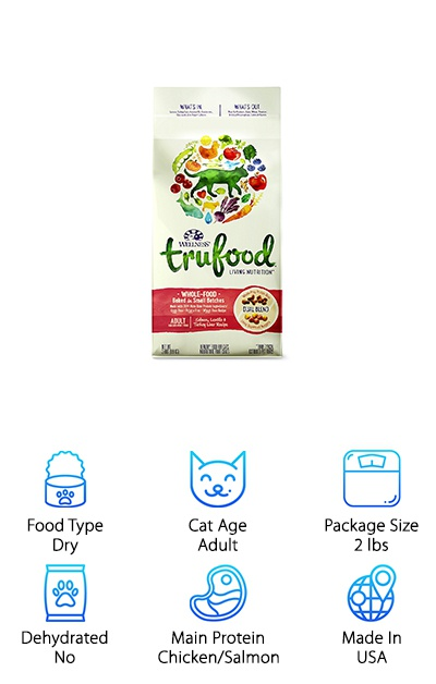 The Wellness TruFood Baked Blends come in varieties for kittens and adult cats and two different main protein options. One recipe features chicken and chicken liver, while another features salmon and turkey liver. The kibble uses only whole-prey sources with no animal by-products for the high-quality protein your cat deserves. Whole-prey bites are cut up and slow-baked with superfood nuggets that provide vitamins, nutrients, and probiotics. Plus, instead of grains (like wheat) or potatoes, this Wellness cat food uses legumes as a source of carbohydrates, fiber, and protein. If your cat has a sensitivity to corn or wheat, a holistic cat food is a great switch! This blend is a great choice for giving your indoor or outdoor cat the full nutrition they need with support to help keep them healthy. It's easy to digest and provides a ton of protein!