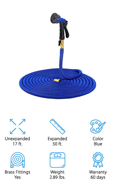 This 50 ft. hose comes with everything you're going to need to get started including the brass fittings and nozzle to accomplish your tasks. The 8 pattern nozzle comes with a textured and non-slip grip that makes it easier to use and the brass fittings are made to never rust or leak. The hose itself is made to never twist or kink but to remain flexible and easy for you to use or to store when you're not using it. The entire system is even FDA approved with no lead and 100% natural latex for the interior hose. The 5000 denier woven fabric exterior protects the hose itself from the elements and other damage, including friction and wear both between the coating and the ground and the coating and the hose inside. It's lightweight to make it easier to carry and gives you up to 50 ft. for your tasks.