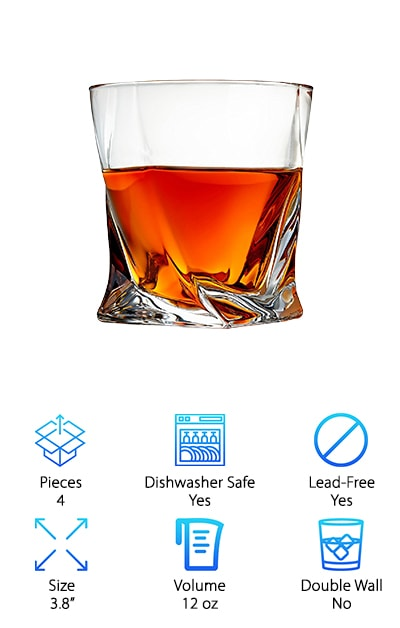 If you're looking for the best whiskey glass with a modern twist, check out these Venero Whiskey Glasses. For starters, they're made with crystal clear glass and look exceptionally lustrous. There's some weight to this glass thanks to the thick walled design. This adds durability as well as a way to insulate your drink and keep it cold. They're not easy to break. This is a big glass, too, 12 oz in all, enough room for a generous pour over the rocks or a mixed drink. What's so unique about the design? There's a twist - literally! It looks almost as if you took a normal glass and twisted it on the base. It's a great effect that works well with the high quality of the glass. It creates some ridges and adds a lot of shine.