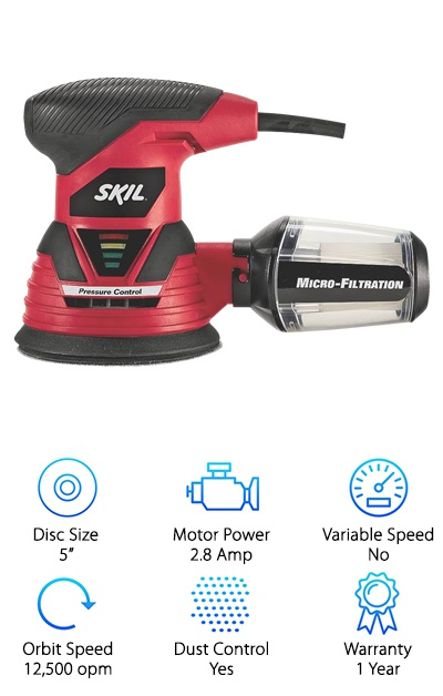 If you are looking for an exceptionally affordable and basic random orbital sander, then you won't need to look any further than the Skil 7492-02. This sander comes with a five-inch disc and a 2.8 Amp motor. Since it is a very basic model, it doesn't come with any variable speed options. Instead, it runs at a steady speed of 12,500 opm. For the low price, this random orbit sander comes with a nice dust-control system. It features an attached dust canister that uses micro-filtration to capture and contain any fine dust particles. The best part of this canister is that it is clear, so you can easily tell how full the canister is without removing it. If you want to get the most dust control, this sander also has a port for a vacuum attachment. Another feature we like on this affordable sander is the pad break. Since this sander works at such high speeds, the pad break will prevent any accidental gouges in the wood. It also uses technology to warn you when you are putting too much pressure on the sander. These features make this the perfect sander for anyone new to the world of woodworking and orbital sanders.