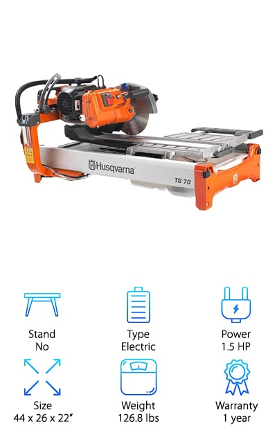 Perhaps you've liked reviewing the rest of our top ten, but you require a little more. You need more power, and we know how to get it. How does material cuts up to 28 inches sound to you? Can you work with that? Because you will definitely want to work with the Husqvarna Tile Saw. The blade is included with your purchase, and you can get started tackling rip cuts of up to 32 inches, and diagonal cuts of up to 20 by 20-inch tiles. Miter cuts are also a go with the Husqvarna, with angles of 22.5 and 45 degrees. This wet tile saw includes a water management system that cuts down on usage and helps keep things cool and dust-free. The separate water tank is included. The tile saw weighs 127 pounds, measuring 44 by 26 by 22 inches. It runs on electricity, with an included cord. Husqvarna offers a 1-year warranty on this wet tile saw.