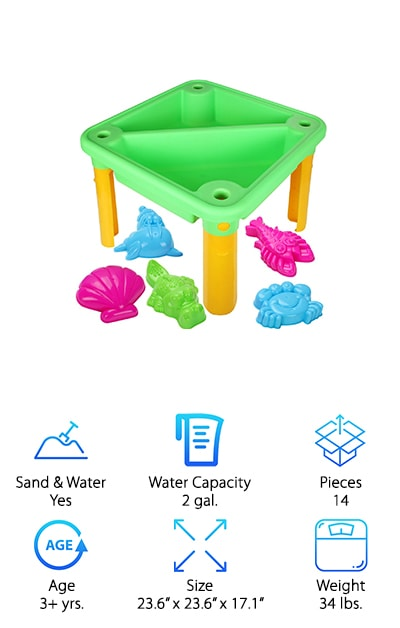 The Costzon Kids Table is entirely square but it has two sections so your little one can easily have fun with water and sand at the same time. It comes with several sand and water toys and it's entirely non-toxic and heat resistant. You'll be able to take it with you wherever you want as well because it's really lightweight and it has drains on each side so you can fill it however you want and empty it quick and easy, whether at home or anywhere on the go. The 13 included accessories make it even more fun and when you're ready to store it away you can simply remove the legs and it's ready to go wherever you want. It's easy to assemble without tools and even your child may be able to do it. Made with environmentally friendly materials, this table can be used by just about anyone for a whole lot of fun and becomes one of the best water tables for toddlers.
