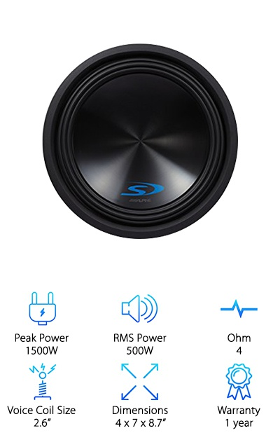 This redesign of Alpine's Type-R subwoofers, the Type-S, is an impressive 10'' subwoofer with a 500W output power and triple that amount in peak power! The big dual voice coils will keep cool as you crank up the volume. This subwoofer features several Alpine patented technologies, including a forced air cooling design, a High Amplitude Multi-Roll Surround Design, and an Optimized Spider. All of these features work together to handle the overall high-excursion design without issues with distortion or mechanical interference. Impressed yet? They also have a shallower mounting depth than the Type-R subwoofers to make installation a little more flexible. On top of that, the 2.6-inch voice coil diameter is the biggest of our subwoofer reviews. Is it any wonder that this woofer made our top 10 list?