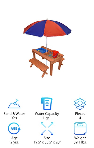 Available in 3 different colors, the Back Bay Picnic Table is a great option for any yard and just about any child as well. Inside the table is a bin for each water and sand, so you'll have plenty to play with. Each side of the table features a drain so you can drain them quickly and easily. When you're playing you can sit at the included benches and put up the umbrella to keep your little one even better protected from the sun. When you're not using it there's a cover that turns this sand and water table into a regular picnic table. Safe and durable, it's the perfect size for up to 4 children to play on comfortably, whether they want to play on top of the table or in the bins underneath. You can get any kind of toys you want to play inside the table and children 2 and up will have plenty of fun with it.