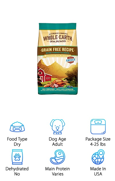 If you're looking for a natural and grain-free option for your lovable Bully, Whole Earth Farms Grain-Free Recipe Dry Dog Food is a great dry kibble option with no corn, wheat, or soy. Flavors include Turkey & Duck, Salmon & Whitefish, Pork, Beef & Lamb, and Chicken & Turkey. Each formula features high-quality protein as the first ingredient without using animal by-products. Whole Earth Farms offers a great value for all of this quality and is a good option for going grain-free on a budget. Fruits, vegetables, and vitamins and minerals are all mixed into this kibble to provide complete nutrition to your English bulldog. Rather than wheat or other grains, peas, potatoes, and sweet potatoes are used as a source of energy-providing complex carbohydrates that are easy to digest. Plus, there are no artificial colors, artificial preservatives, or ingredients from China. Going grain-free just became a less painful experience for your wallet!